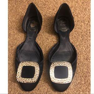 Roger Vivier Satin ballerina Crystal Buckle Flats